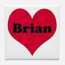 Brian Leather Heart Tile Coaster