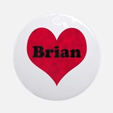 Brian Leather Heart Round Ornament
