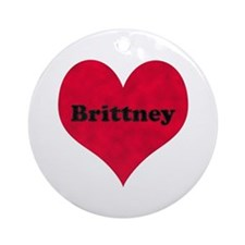 Brittney Leather Heart Round Ornament