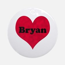 Bryan Leather Heart Round Ornament