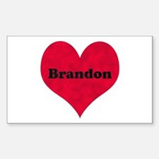 Brandon Leather Heart Rectangle Decal