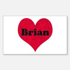 Brian Leather Heart Rectangle Decal