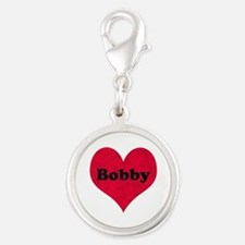 Bobby Leather Heart Silver Round Charm