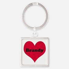 Brandy Leather Heart Square Keychain