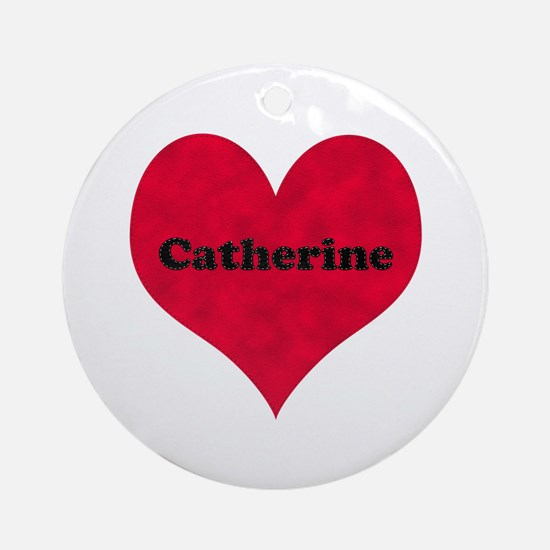 Catherine Leather Heart Round Ornament