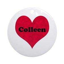 Colleen Leather Heart Round Ornament