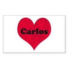 Carlos Leather Heart Rectangle Decal