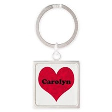 Carolyn Leather Heart Square Keychain