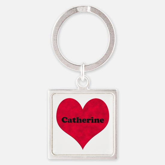 Catherine Leather Heart Square Keychain
