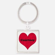 Courtney Leather Heart Square Keychain