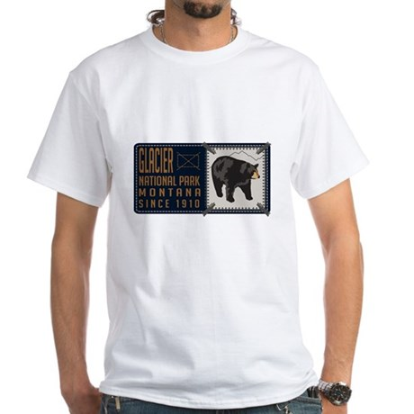 Glacier black bear badge white t shirt glacier black bear for Bear river workwear shirts