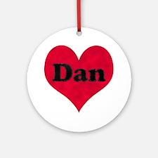 Dan Leather Heart Round Ornament