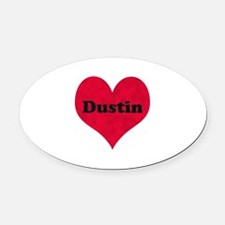 Dustin Leather Heart Oval Car Magnet