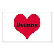 Deanna Leather Heart Rectangle Decal
