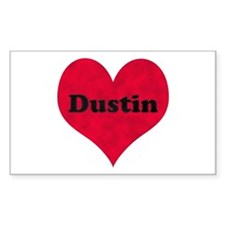 Dustin Leather Heart Rectangle Decal