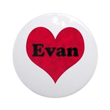 Evan Leather Heart Round Ornament