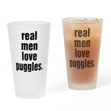 Cute Puggle Drinking Glass