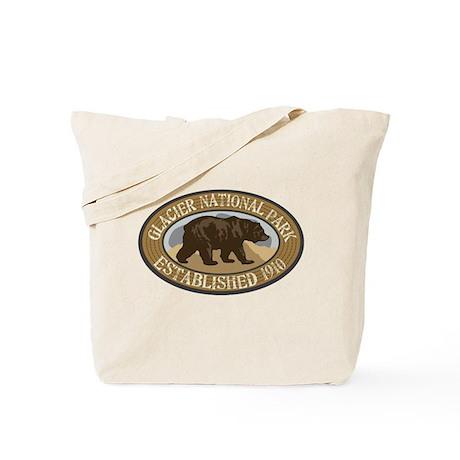 Glacier Brown Bear Badge Tote Bag