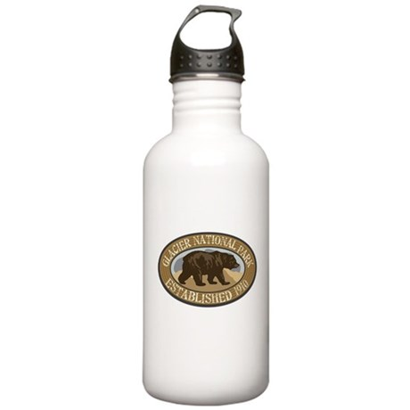 Glacier Brown Bear Badge Stainless Water Bottle 1.