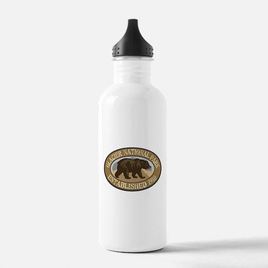 Glacier Brown Bear Badge Water Bottle