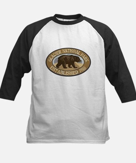 Glacier Brown Bear Badge Kids Baseball Jersey