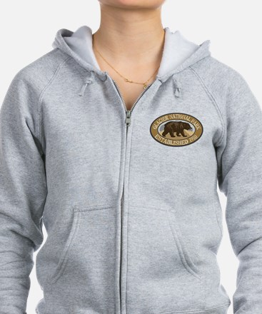 Glacier Brown Bear Badge Zip Hoodie