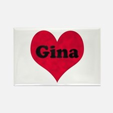Gina Leather Heart Rectangle Magnet