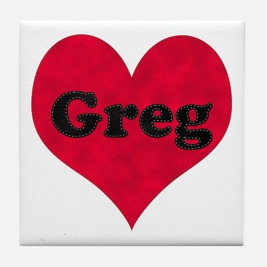 Greg Leather Heart Tile Coaster