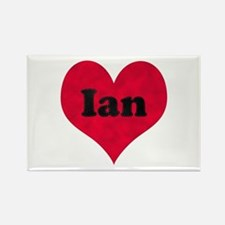 Ian Leather Heart Rectangle Magnet