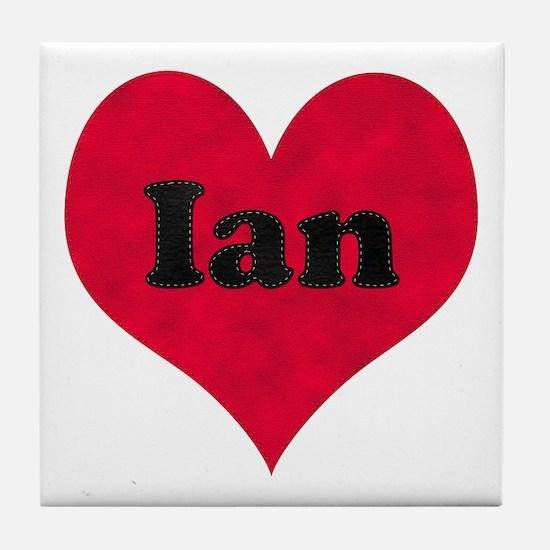Ian Leather Heart Tile Coaster