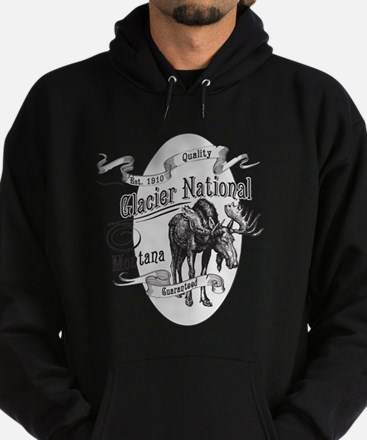 Glacier National Vintage Moose Hoodie (dark)
