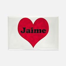 Jaime Leather Heart Rectangle Magnet