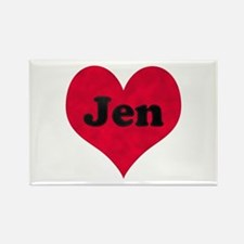 Jen Leather Heart Rectangle Magnet