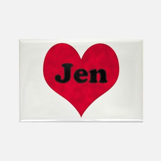 Jen Leather Heart Rectangle Magnet
