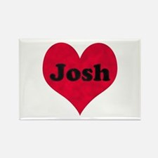 Josh Leather Heart Rectangle Magnet