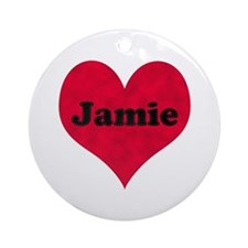 Jamie Leather Heart Round Ornament