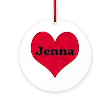 Jenna Leather Heart Round Ornament