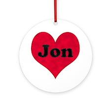 Jon Leather Heart Round Ornament