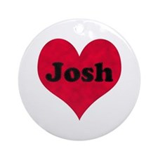 Josh Leather Heart Round Ornament