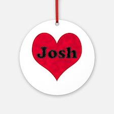 Josh Leather Heart Round Ornament
