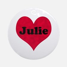 Julie Leather Heart Round Ornament