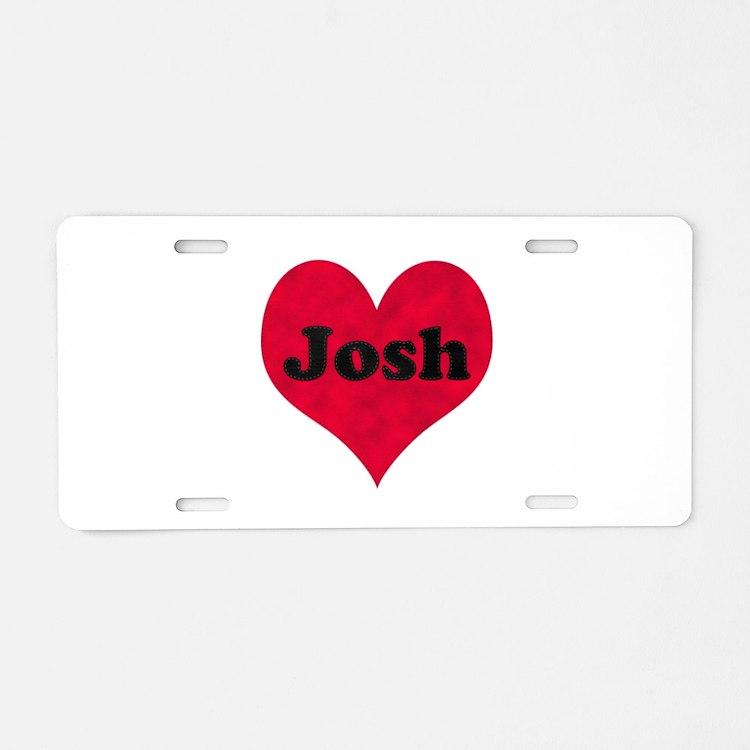 Josh Leather Heart Aluminum License Plate
