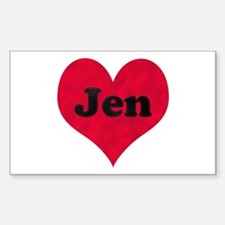 Jen Leather Heart Rectangle Decal