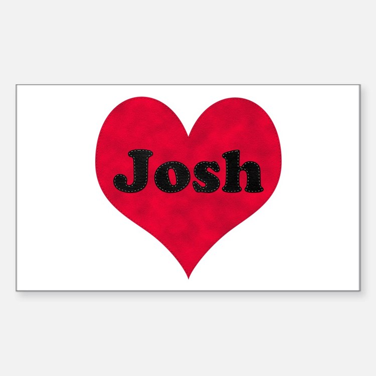 Josh Leather Heart Rectangle Decal