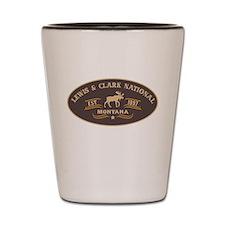 Lewis Clark Belt Buckle Badge Shot Glass