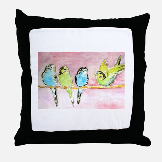 Parakeets Posturing Throw Pillow