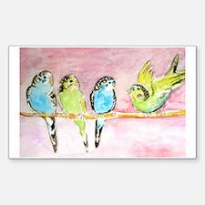 Parakeets Posturing Sticker (Rectangle)