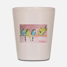 Parakeets Posturing Shot Glass