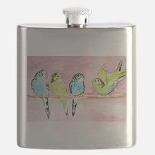 Parakeets Posturing Flask