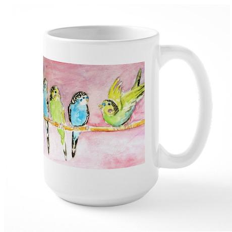 Parakeets Posturing Large Mug